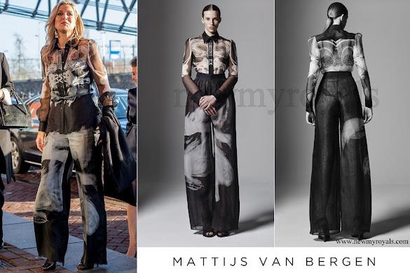 Queen Maxima wears Mattijs van Bergen Meeusen Hypnose shirt & Meeusen Smoke trousers