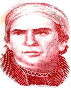 Rostro de José María Morelos en billete de México