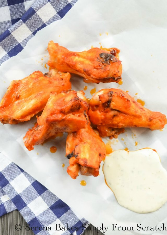 Baked Chicken Hot Wings are simply to make with a crispy on the outside, but juicy on the inside from Serena Bakes Simply From Scratch.