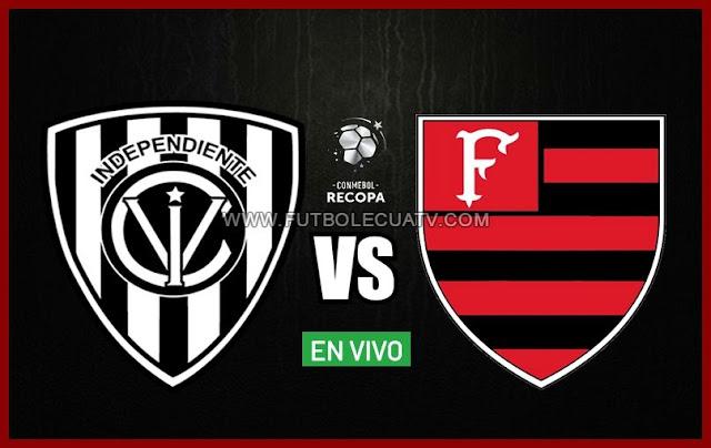 Independiente del Valle y Flamengo se enfrentan en vivo por la final ida de la Recopa Sudamericana a realizarse en el reducto Municipal General Rumiñahui desde las 20:30 hora local. Siendo el juez principal Leodan Gonzalez con emisión del medio autorizado DirecTV Ecuador.