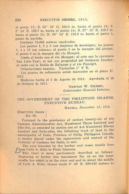 Executive Order No. 97 series of 1912, Spanish version, continued.
