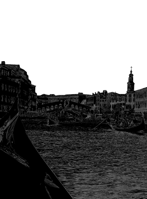 Silhouette of Venice with the gondola and bridge