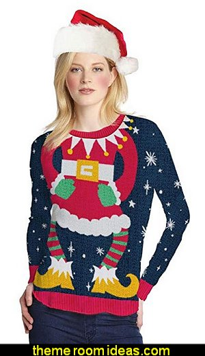 Women's Miss Claus Ugly Sweater Long Sleeve T-Shirt   ugly sweaters - Christmas ugly sweaters  - decorate yourself - womens ugly sweaters - ugly mens sweaters - embellished ugly sweaters - fun sweaters - novelty sweaters - Christmas party sweaters - quirky party sweaters -  Christmas party hats