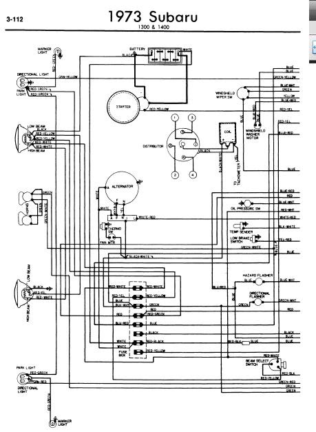 repairmanuals: Subaru 1300 1400 1973 Wiring Diagrams