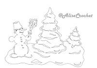 трафарет ель и снеговик
