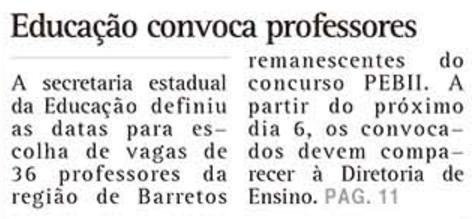 Secretaria da Educação Estadual convoca professores remanescentes do concurso de 2013 PEBII a partir do dia 06/12/2016 na Diretoria de Ensino (O Diário de Barretos)