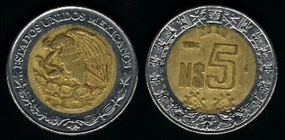 Mexico 5 New Pesos (1992-1995) Coin