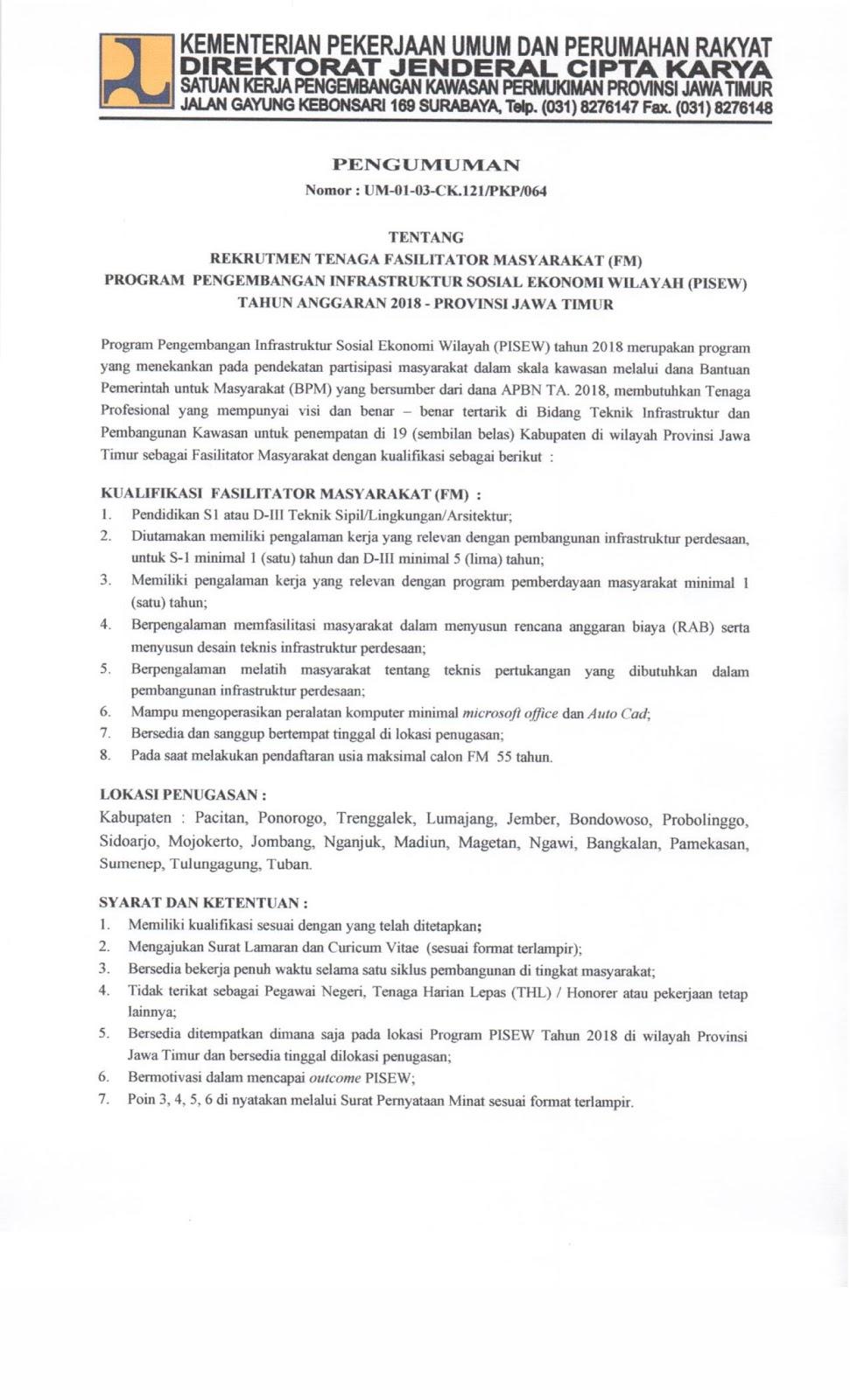 Lowongan Kerja  Rekrutmen Kementerian Pekerjaan Umum dan Perumahan Rakyat  Oktober 2018