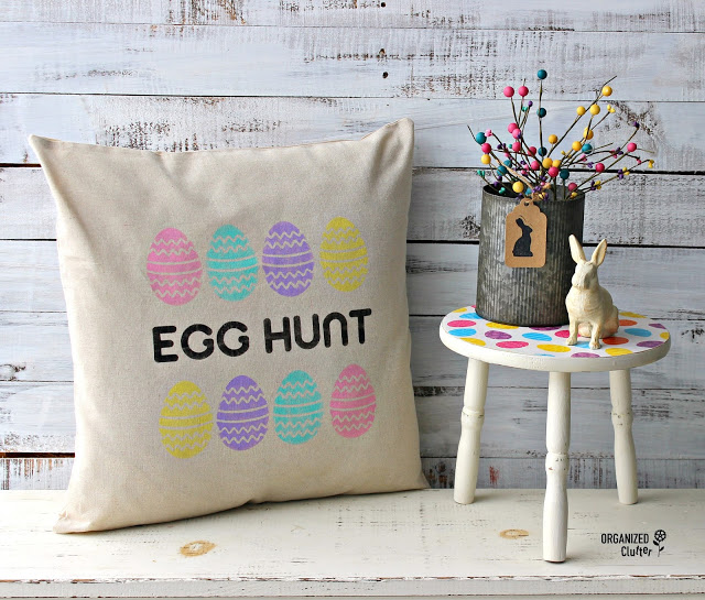 Stenciled Easter Pillow Covers