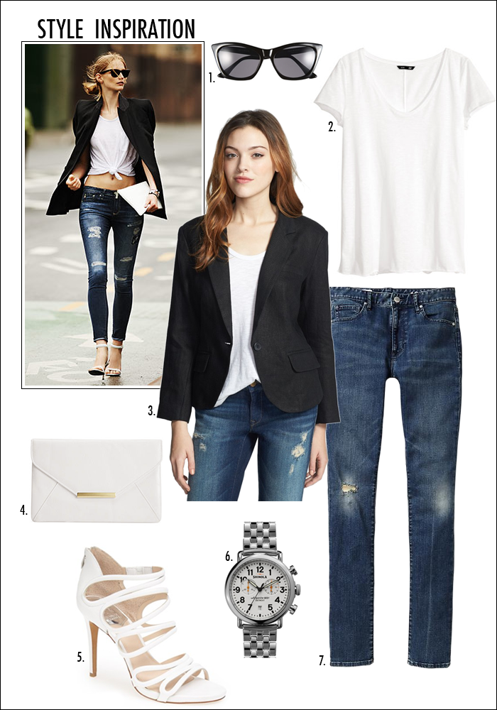 shinola watch, white sandals, distressed denim, how to wear black and white, nordstrom, vince camuto