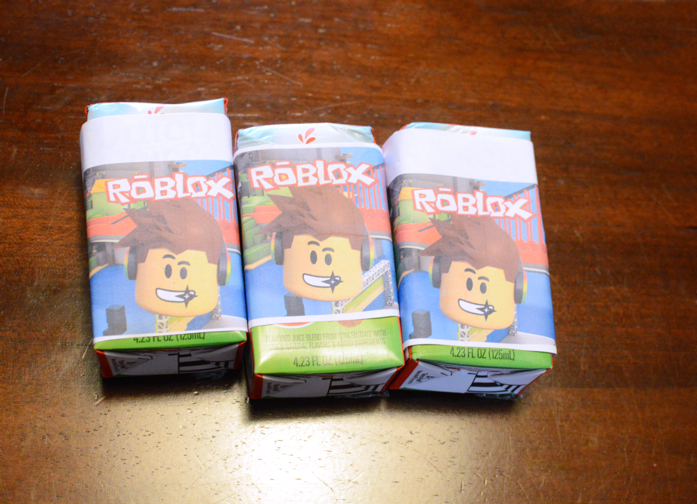 Juices wrapped in Roblox graphics for Roblox birthday party-design addict mom