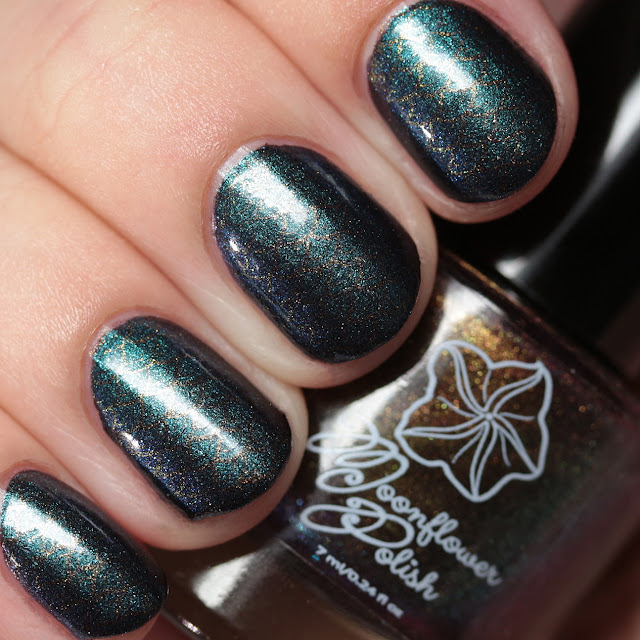 Moonflower Polish Hidden Rose stamped over Celes-teal using Hehe 24
