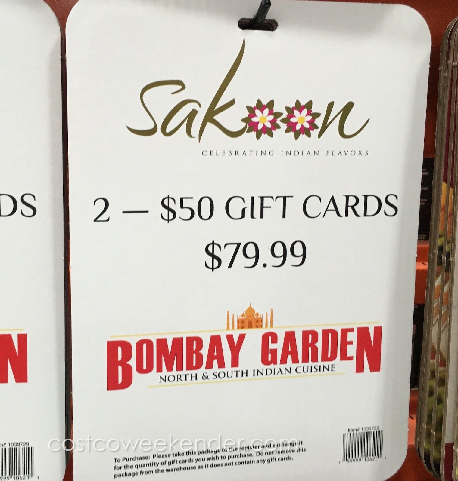 bombay garden sakoon gift cards costco weekender 2 50 gift cards to sakoon or bombay garden for only 79 99