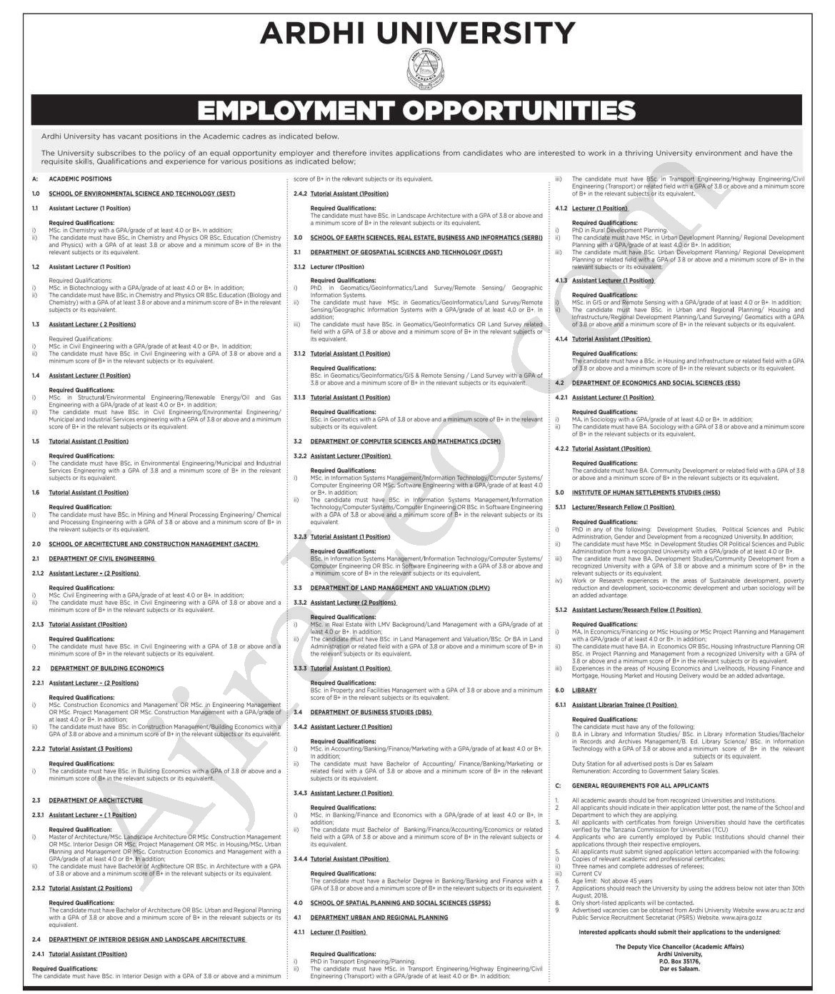 Tanzania Jobs 2018: 39 Employment Opportunities at The Ardhi ... on