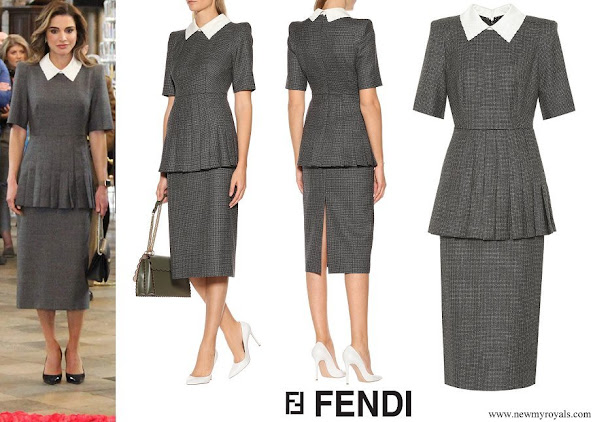 Queen Rania wore FENDI Wool-blend midi dress