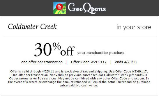 Coldwater Creek Coupons Code