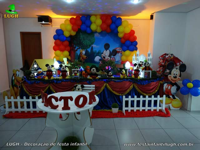 Decoração masculina de 1 ano luxo - Festa de aniversário infantil tema Mickey