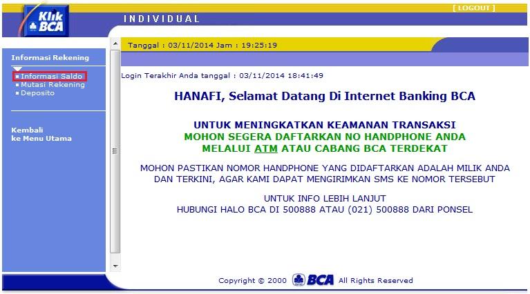 CARA CEK SALDO ATM / REKENING BCA ONLINE LEWAT INTERNET