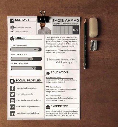 Best Free Psd Resume Templates Download Template Professional
