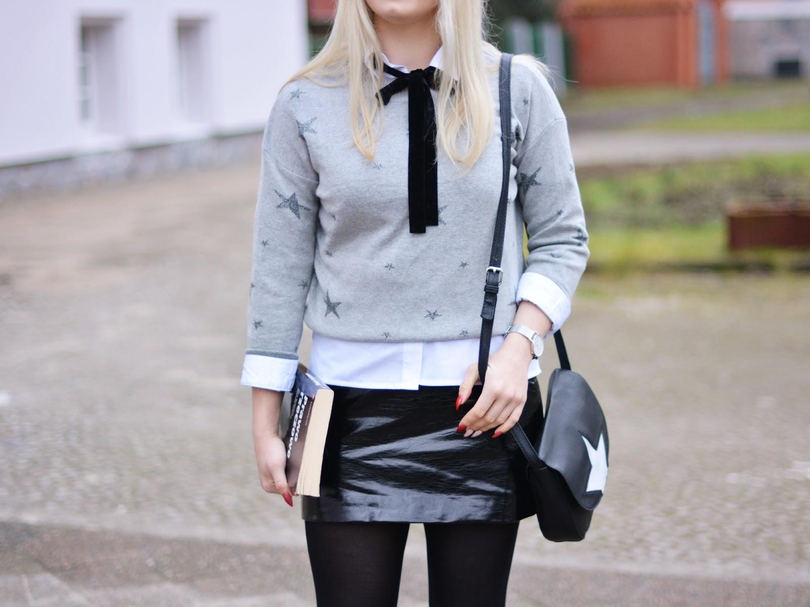 czarna spódniczka szary sweter