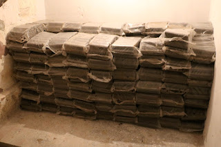 All the briquettes stacked up - 140 bags