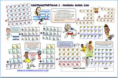 Alfaméticas, Criptoaritmética, Criptosuma, Mundial Rusia 2018, Mundial de fútbol, Juego de letras, Juego de Palabras, Retos matemáticos, Desafíos matemáticos, Problemas matemáticos