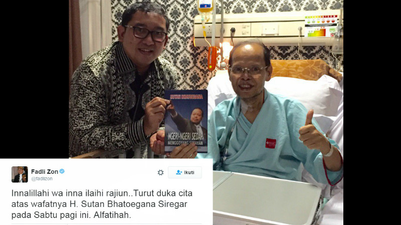 Fadli Zon mengunjungi Sutan Bhatoegana di RS BMC Bogor