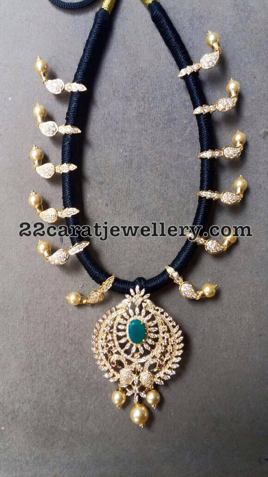 Black Rope Set with Diamond Pendant