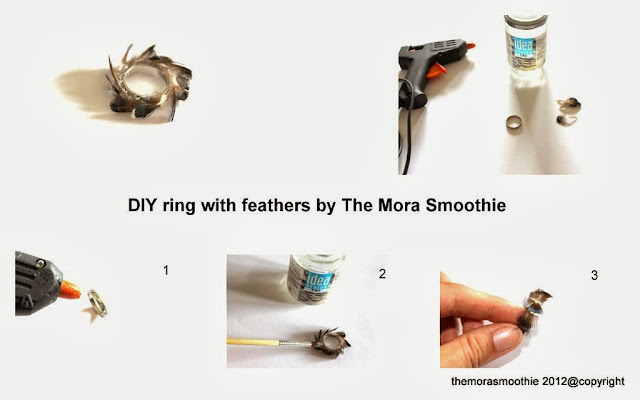 diy ring, feathers