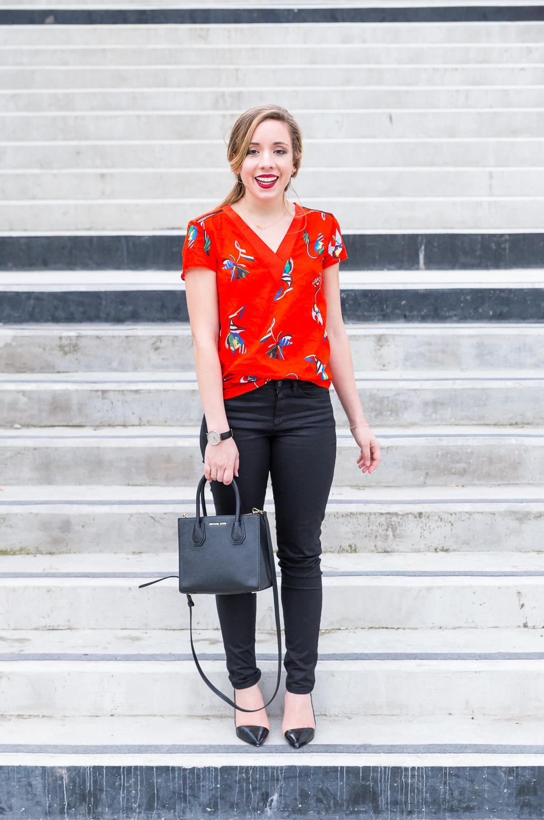 tenue working girl noir rouge