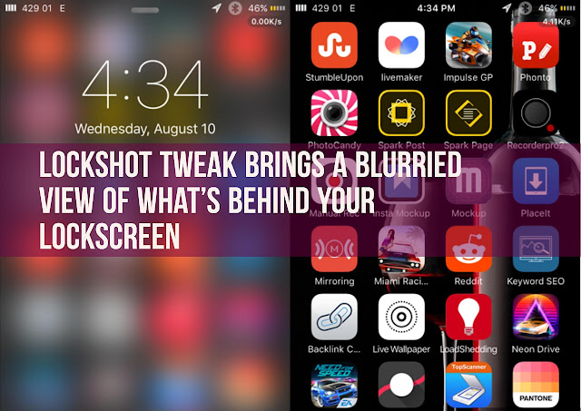 LockShot is pretty cool tweak which give a beautiful look to your lockscreen that brings a blurred view of what's behind it! Once you lock your device, what was on the screen is set as the lockscreen wallpaper.