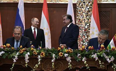 Vladimir Putin, Emomali Rahmon, Sergei Lavrov.