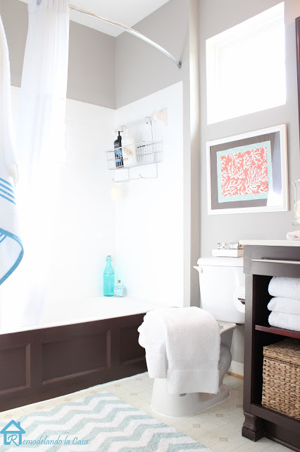 brown, gray and orange bathroom makeover