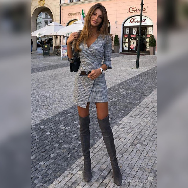 Εντυπωσιακό κοντό γκρι φόρεμα  BEROLA