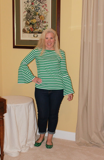 bell sleeve striped top  shein preppy blogger fashion after 40