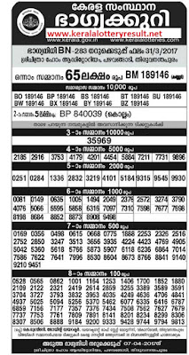 Kerala Lottery Results 31-3-2017 Bhagyanidhi lottery bn 283