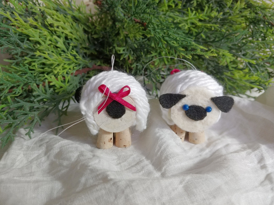 Make some cute sheep ornaments from thread spools