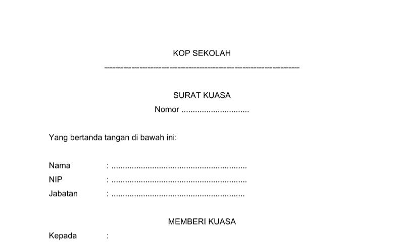 Bentuk Surat Kuasa pada Administrasi TU (Tata Usaha) Sekolah Format Word (doc)