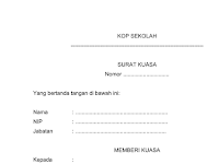 Format Surat Kuasa pada Administrasi Tata Usaha Sekolah (TU)