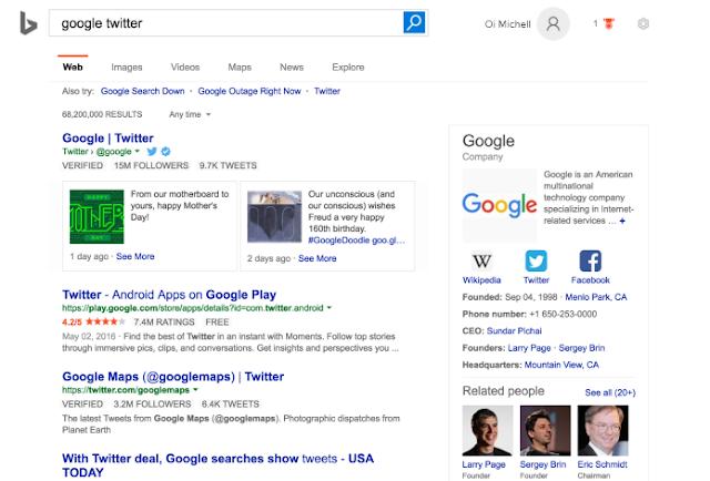 Bing passa a mostrar tweets nos resultados de busca