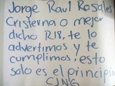 El CJNG manda comunicado al Comandante  R-18 líder del Cártel de Sinaloa en Colima y como advertencia le matan a su esposa en Mazatlán te lo advertimos