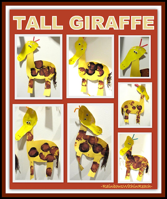 Painted Giraffe Project: Heads made from traced foot shape