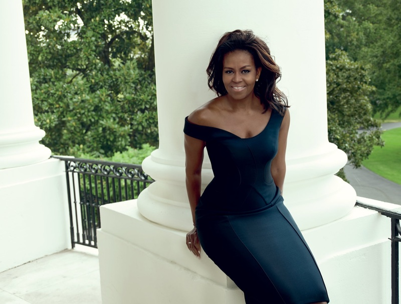First Lady of the United States Michelle Obama wears Atelier Versace dress