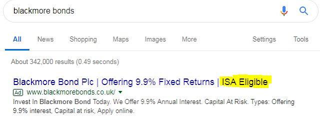 Blackmore Bonds ISA advert on Google