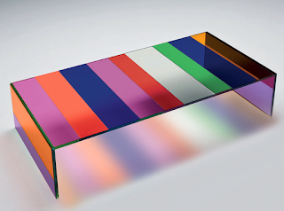 A Striped Color Glass Table