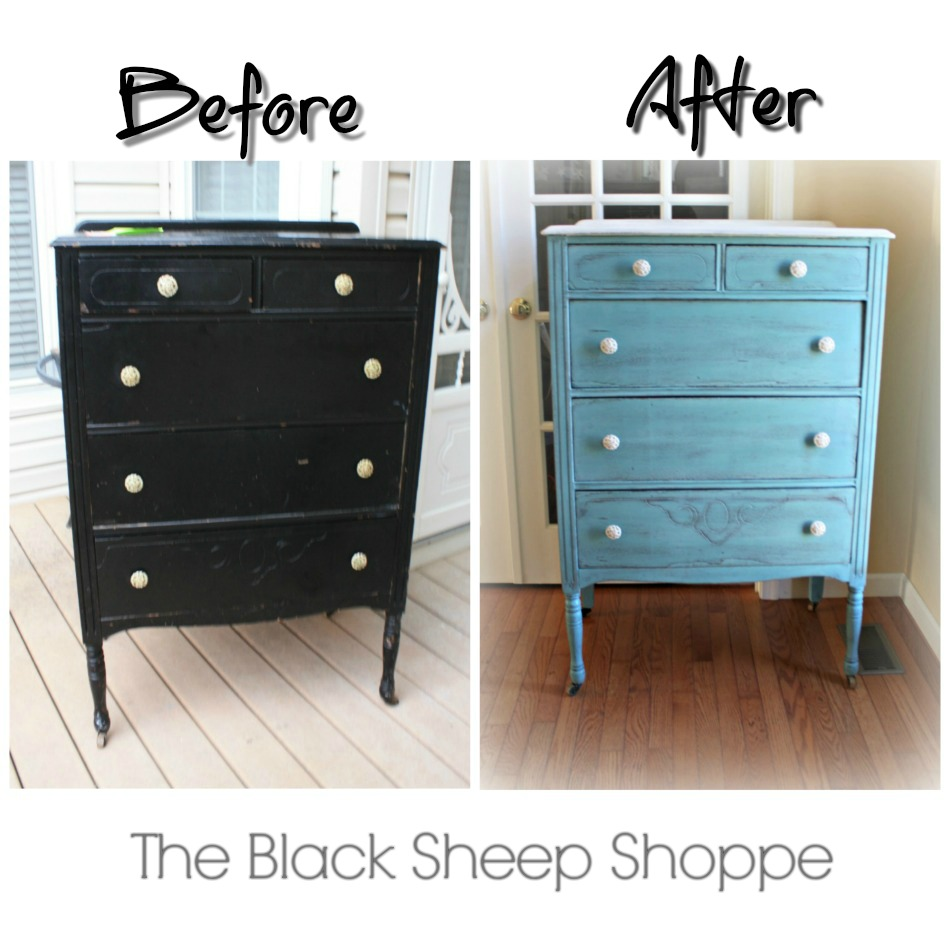 Vintage 1920s dresser before and after