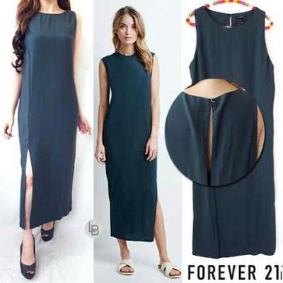baju online terbaru - Forever 21 Slit Green dress
