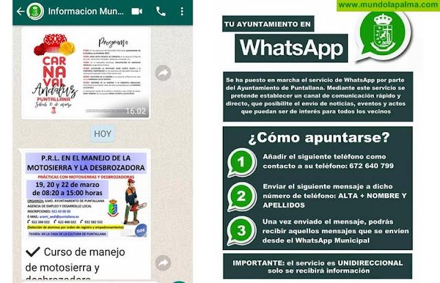 Servicio de WhatsApp Municipal de Puntallana