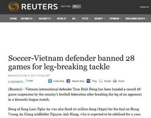 Đình Đồng trên trang Daily Mail