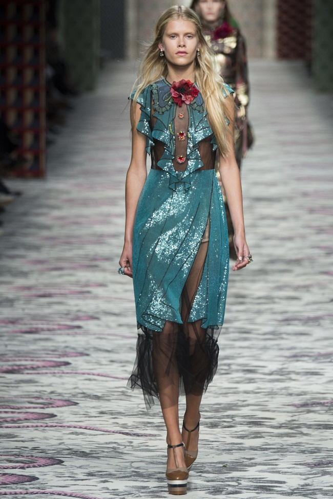 Gucci 2016 SS Green Paper Doll Dress